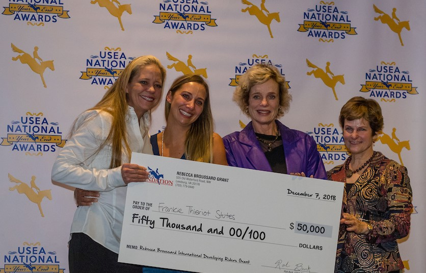 Frankie receiving the Rebecca Broussard International Developing Rider's Grant at the USEA Annual Awards Luncheon in New Orleans in December.    L-R Sarah Broussard, Frankie Thieriot Stutes, Rebecca Broussard, and USEA President Carol Kozlowski. (Photo: RedBayStock.com)