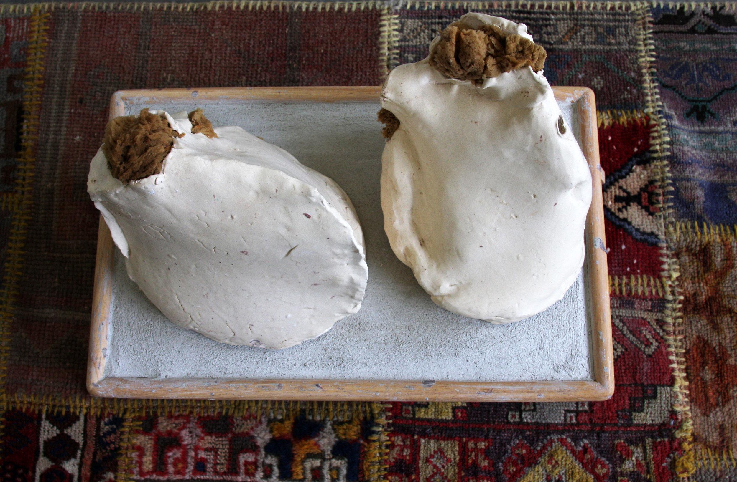2017  turkish rug, modified breakfast in bed tray, glazed ceramic, sea sponge