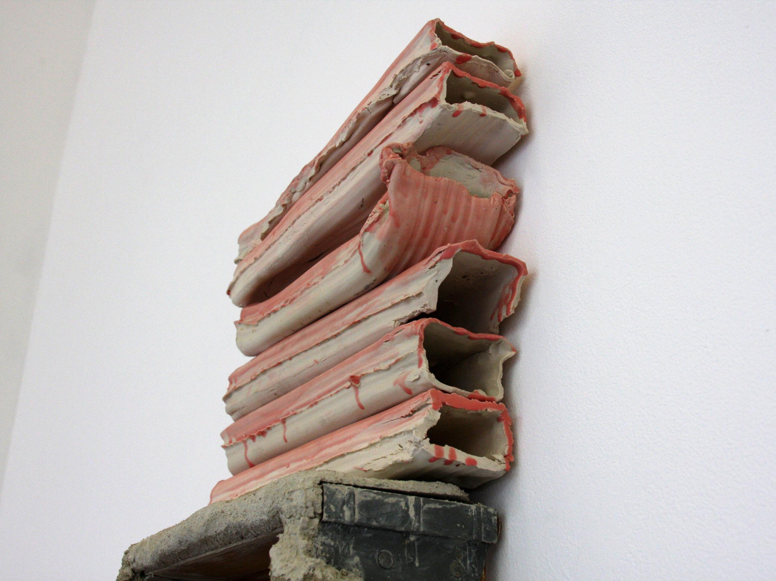 2017  modified wooden ladder, cement, glazed slip cast porcelain gutters