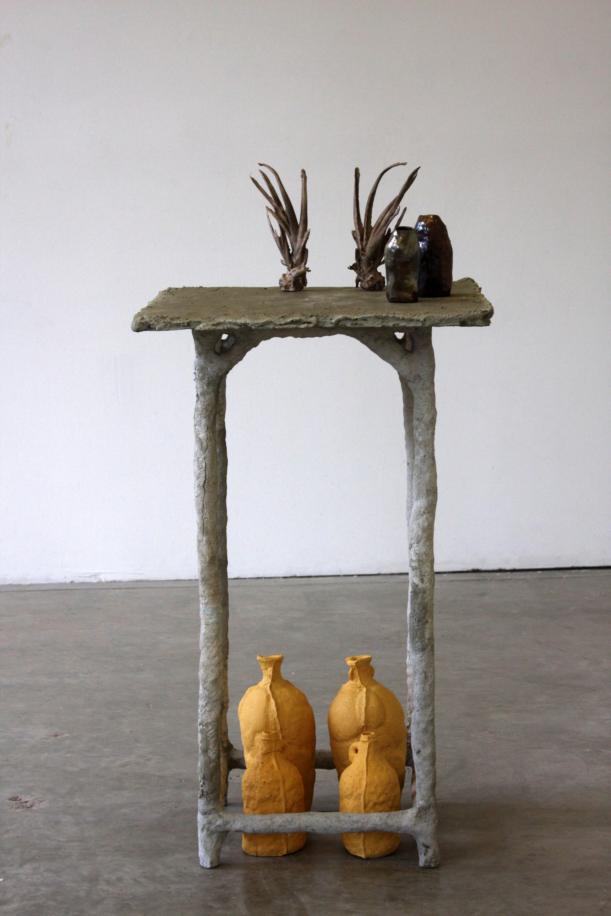 mortar table, slip-cast dyed porcelain vessels, bronze cast aloe vera (cast from PLA prints)