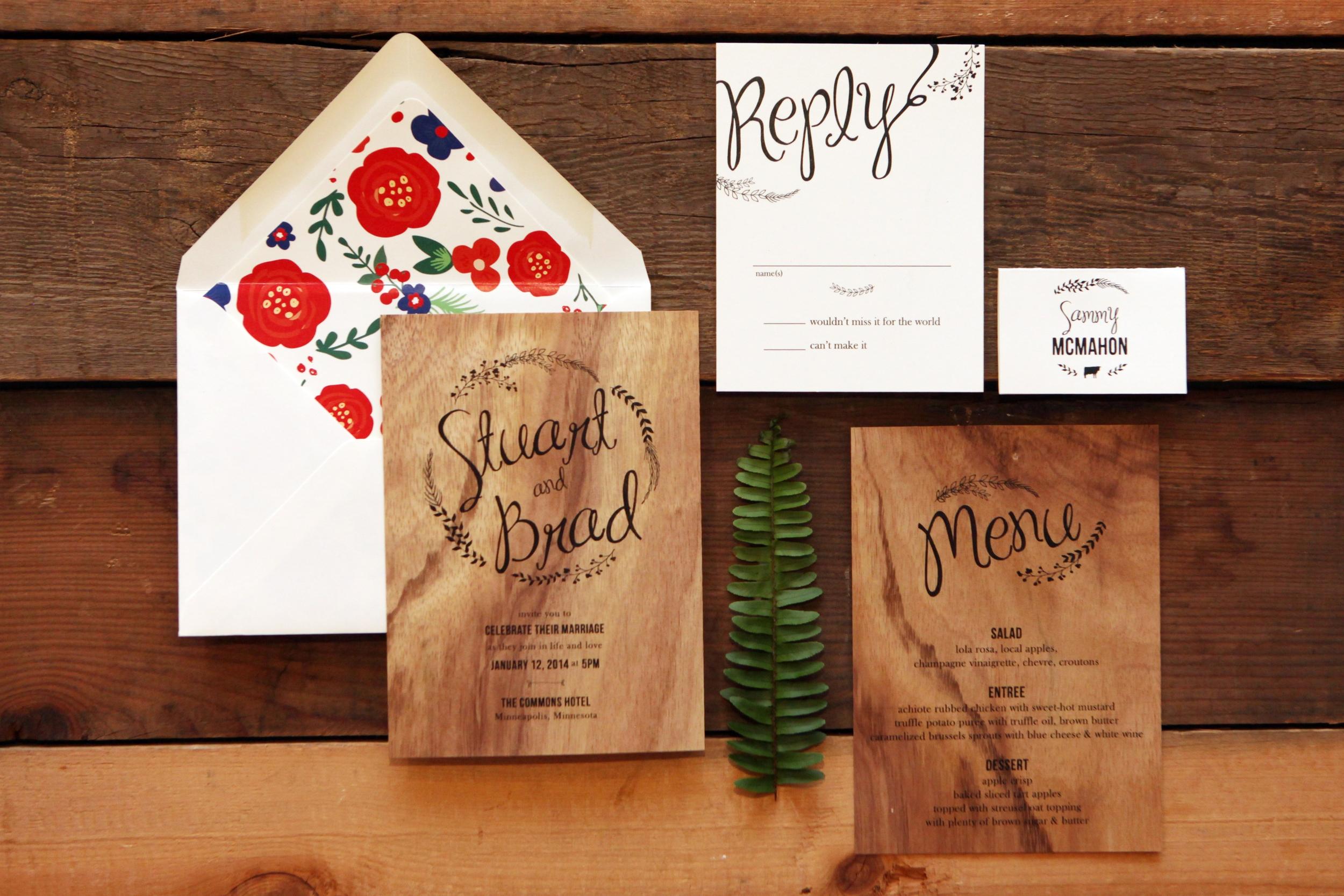 Custom wood invitations - Minneapolis, Minnesota