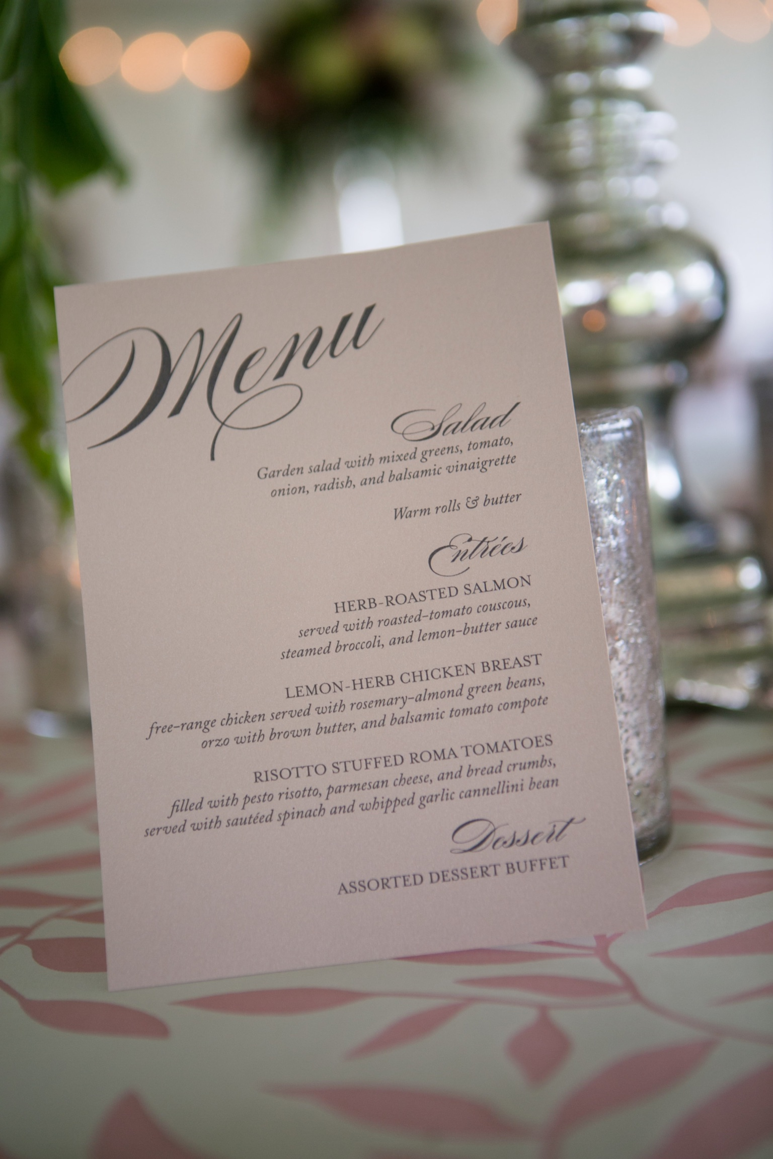 Blush Wedding Menu