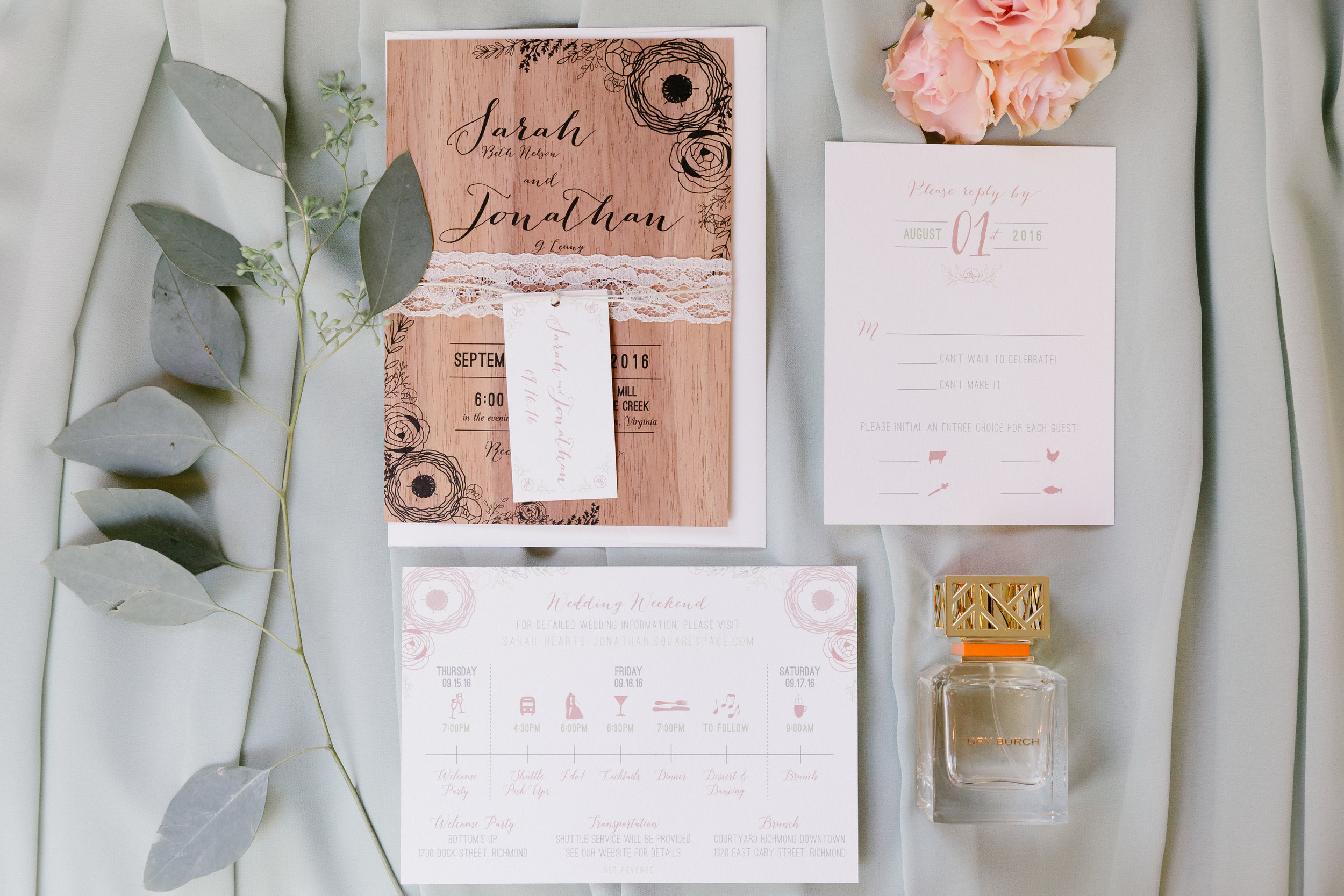 Sarah & Johnathan - Wood and Lace Invitation