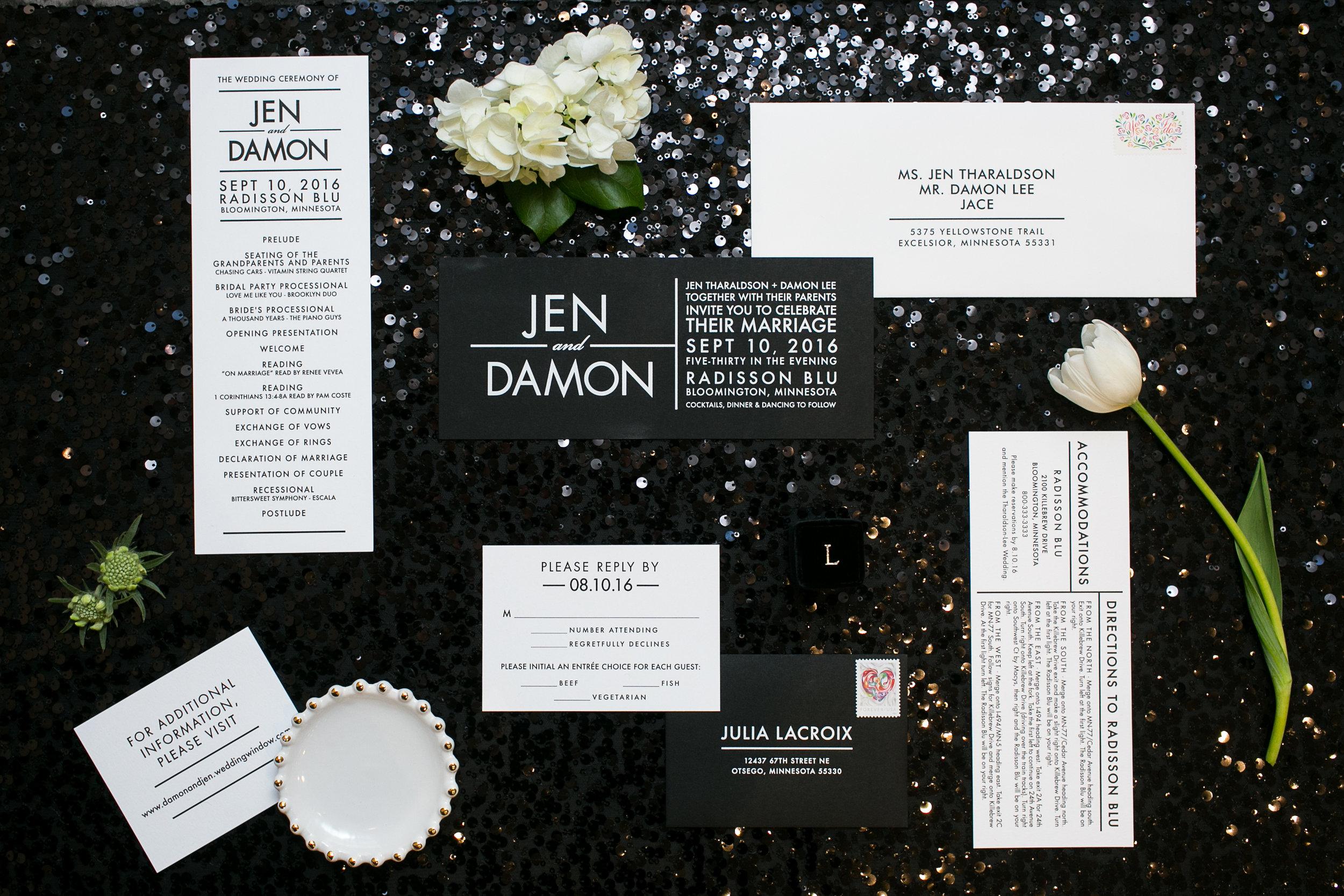Jen + Damon - White on Black Modern Invitation