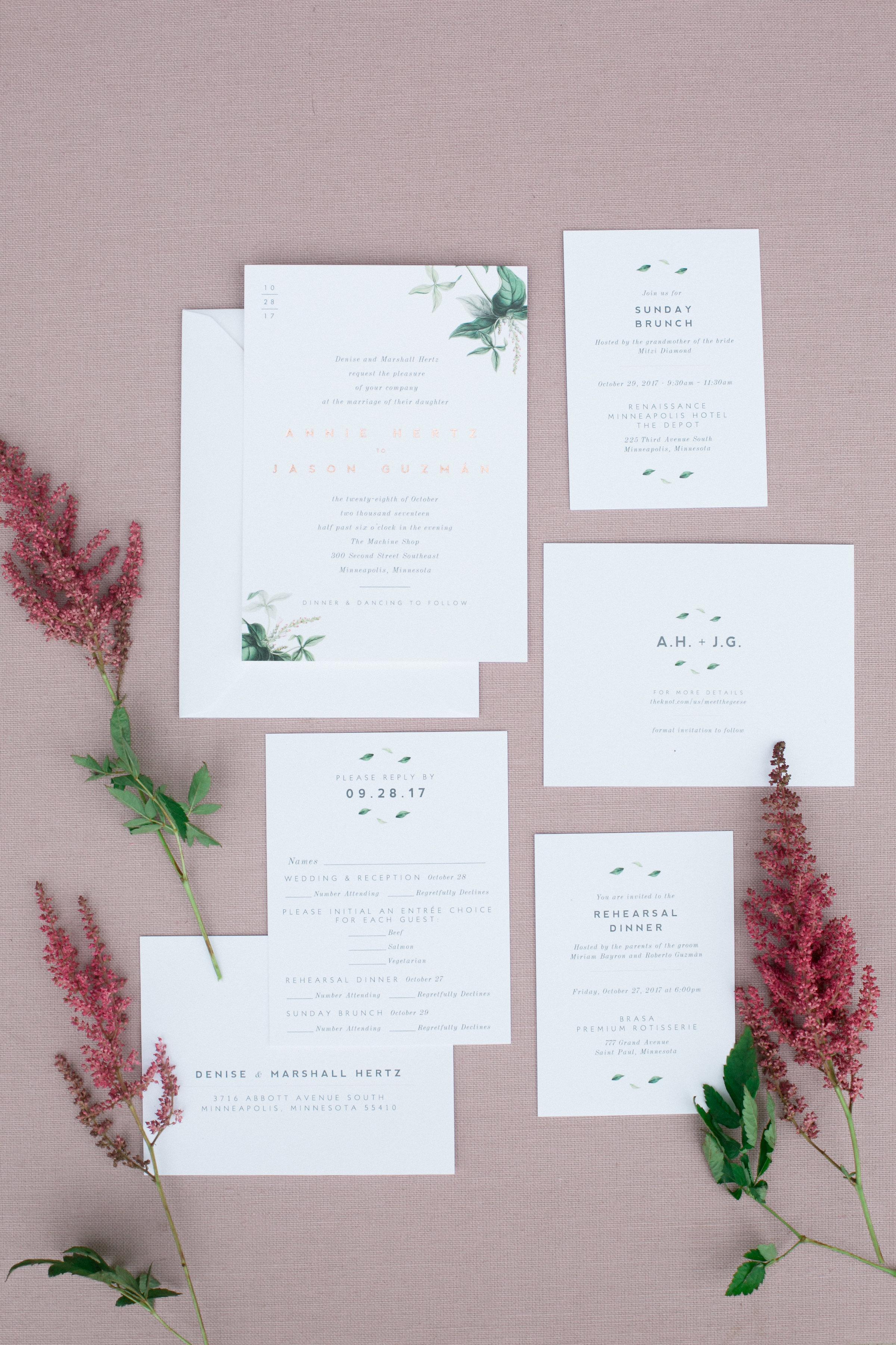 Rose Gold Botanical Invitation