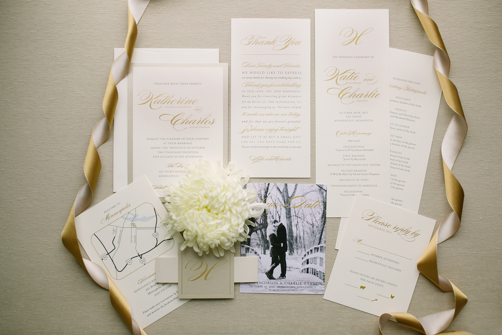 Simple Ivory and Gold Script Invitations