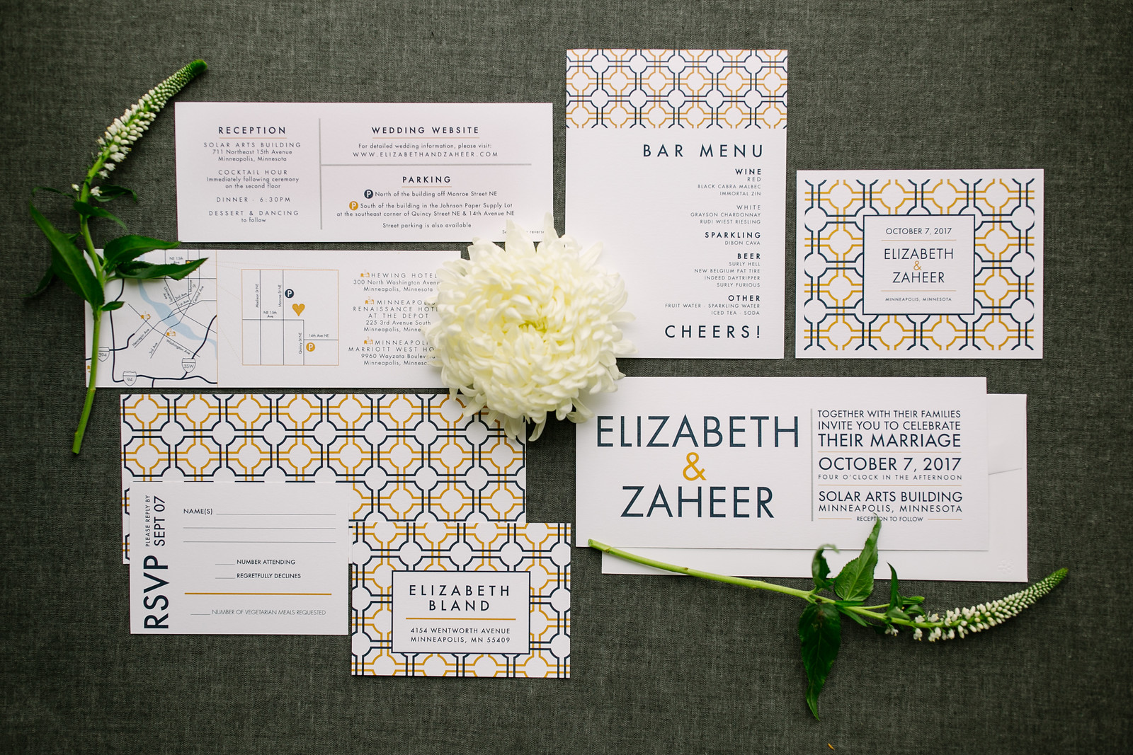 Bold and Modern Yellow, Navy and Ivory Invitation Suite