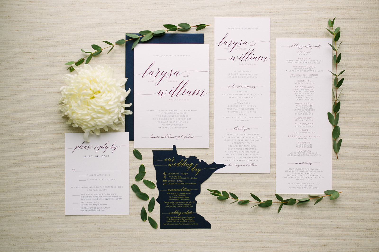 Deep Purple and Navy on an Ivory Background with a little Minnesota love