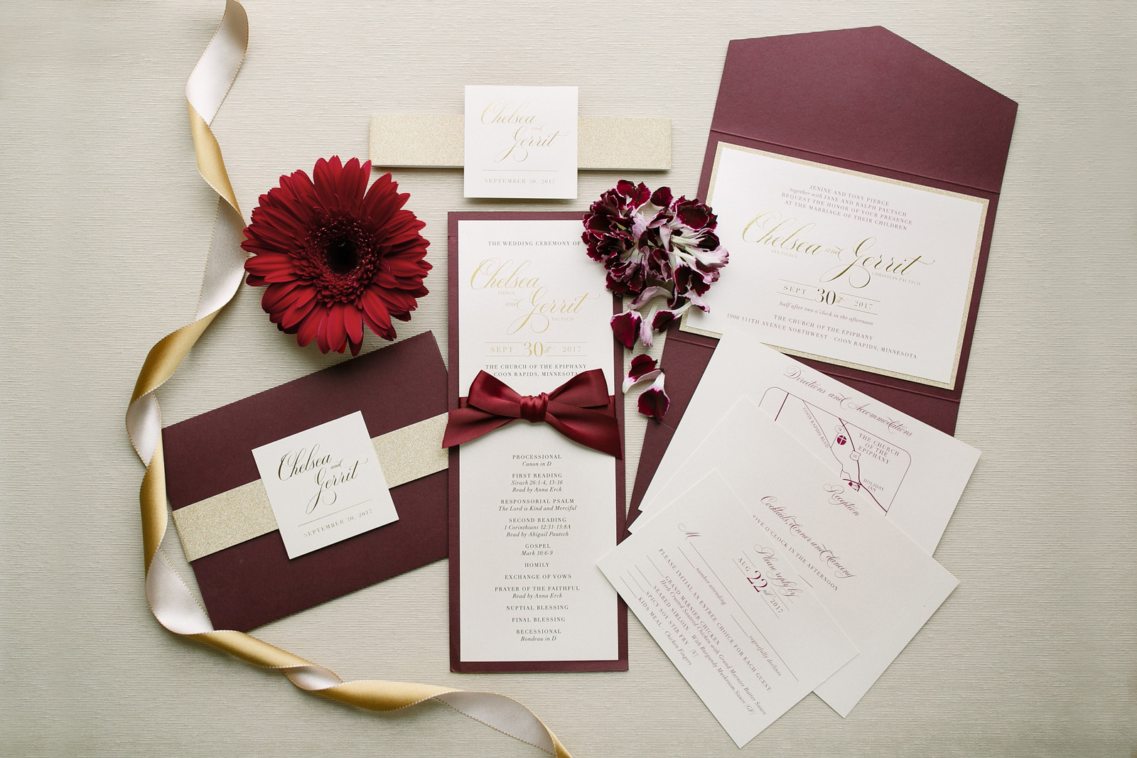 Burgundy, Champagne, and Ivory Invitation Suite