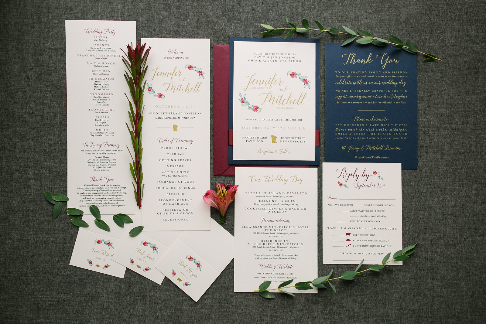 Navy, Burgundy, and Gold Floral Invitation Suite