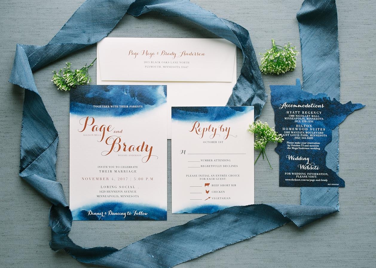 Watercolor Blue and Copper Invitation Suite