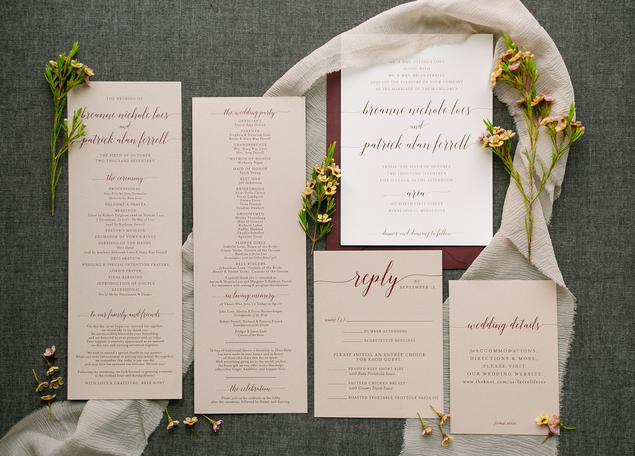 Burgundy and Ivory Invitations with a Twist! The edges of these beautiful invitations were also dyed burgundy. A little touch that is only visible from the sides but makes a big impact