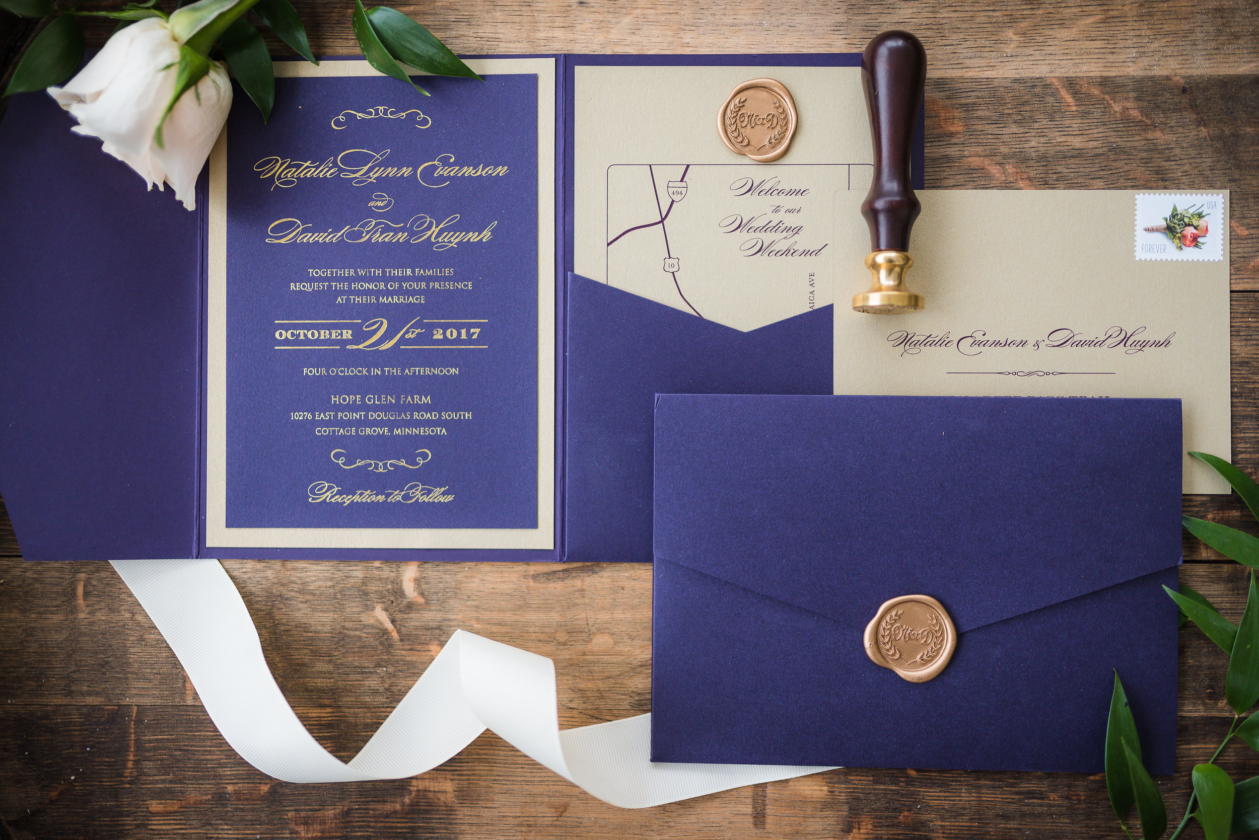 Eggplant on Gold foil is always a beautiful and classic choice