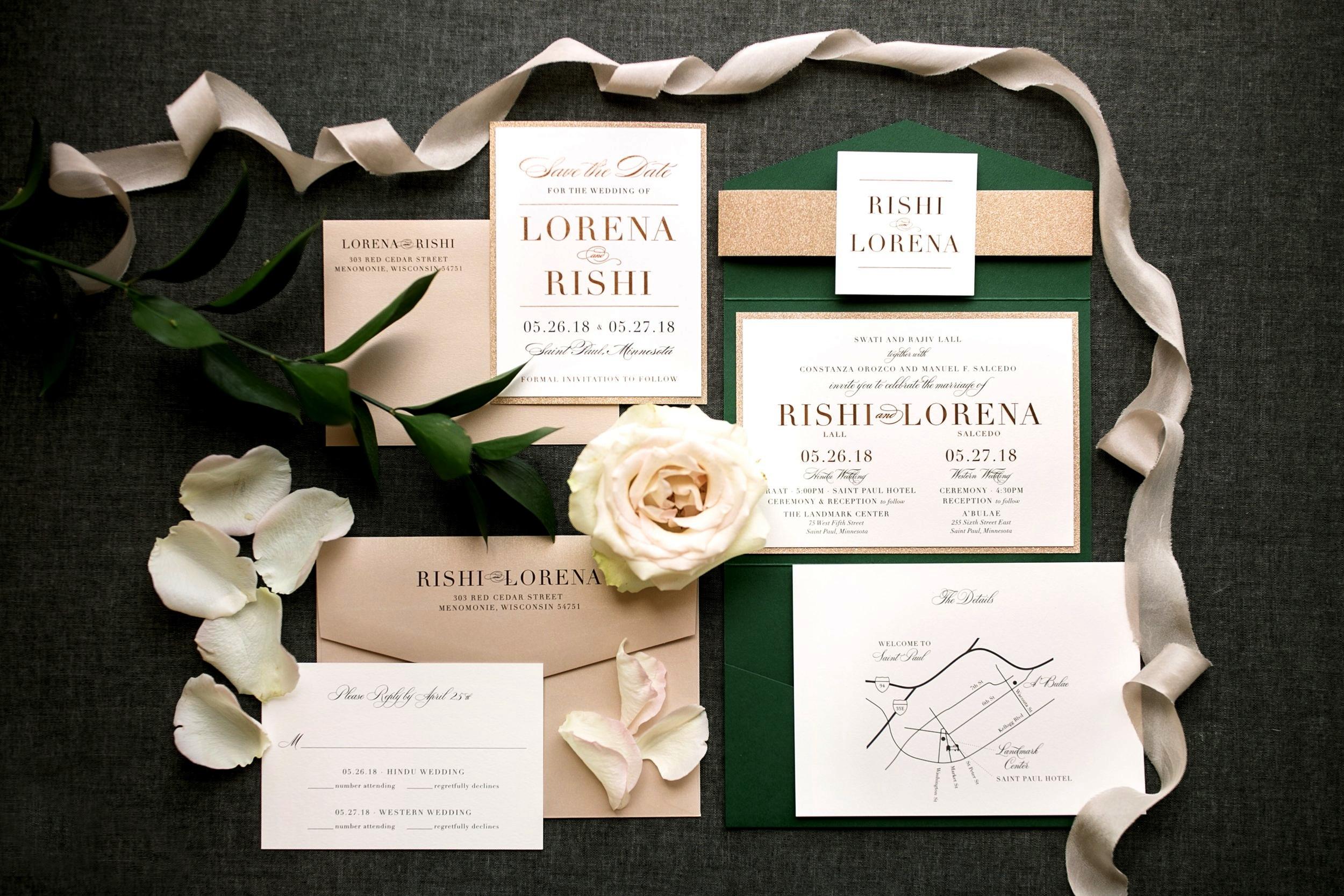 Emerald Green and Blush Wedding Invitations