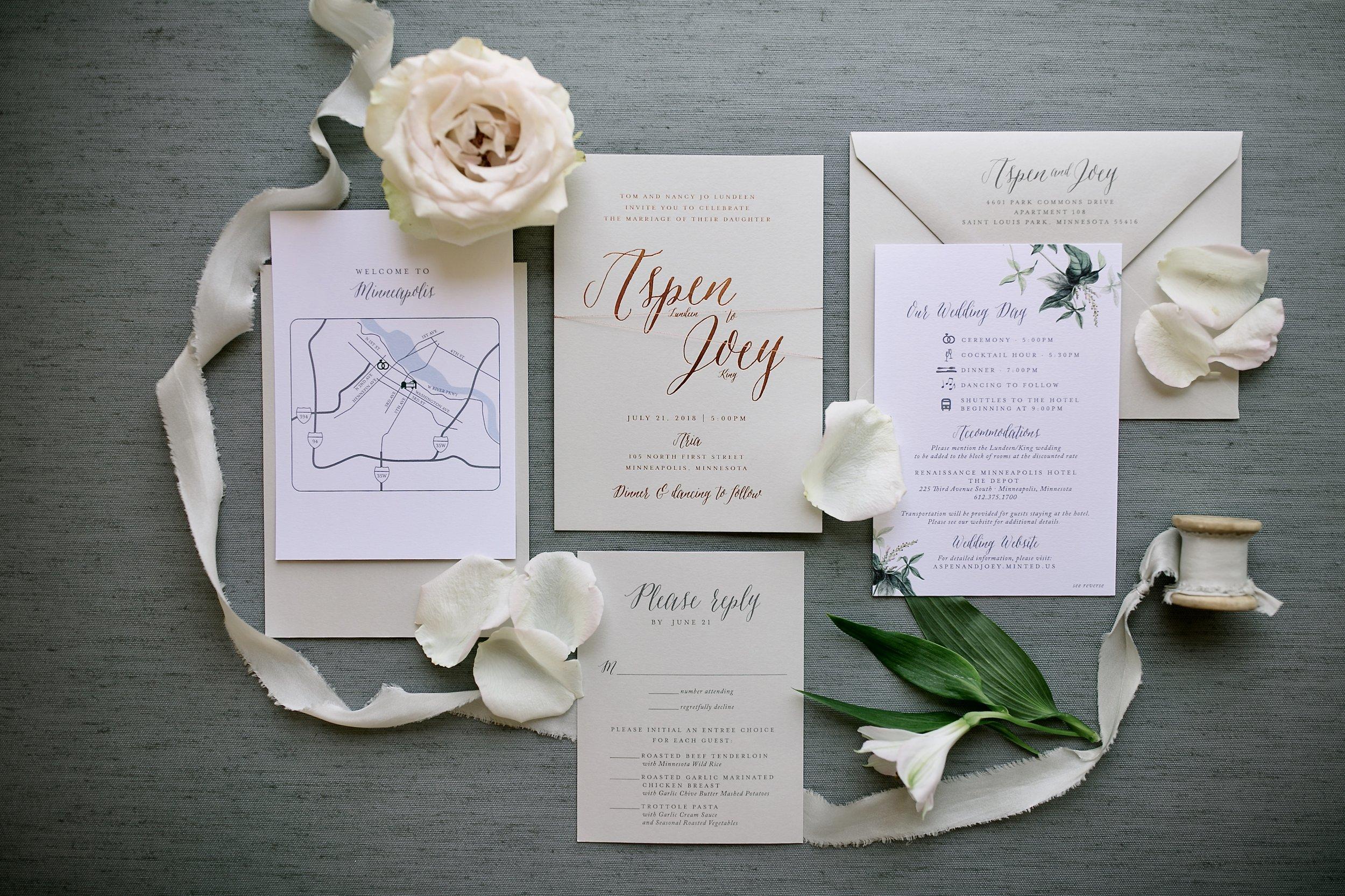 Copper and Gray Wedding Invitations