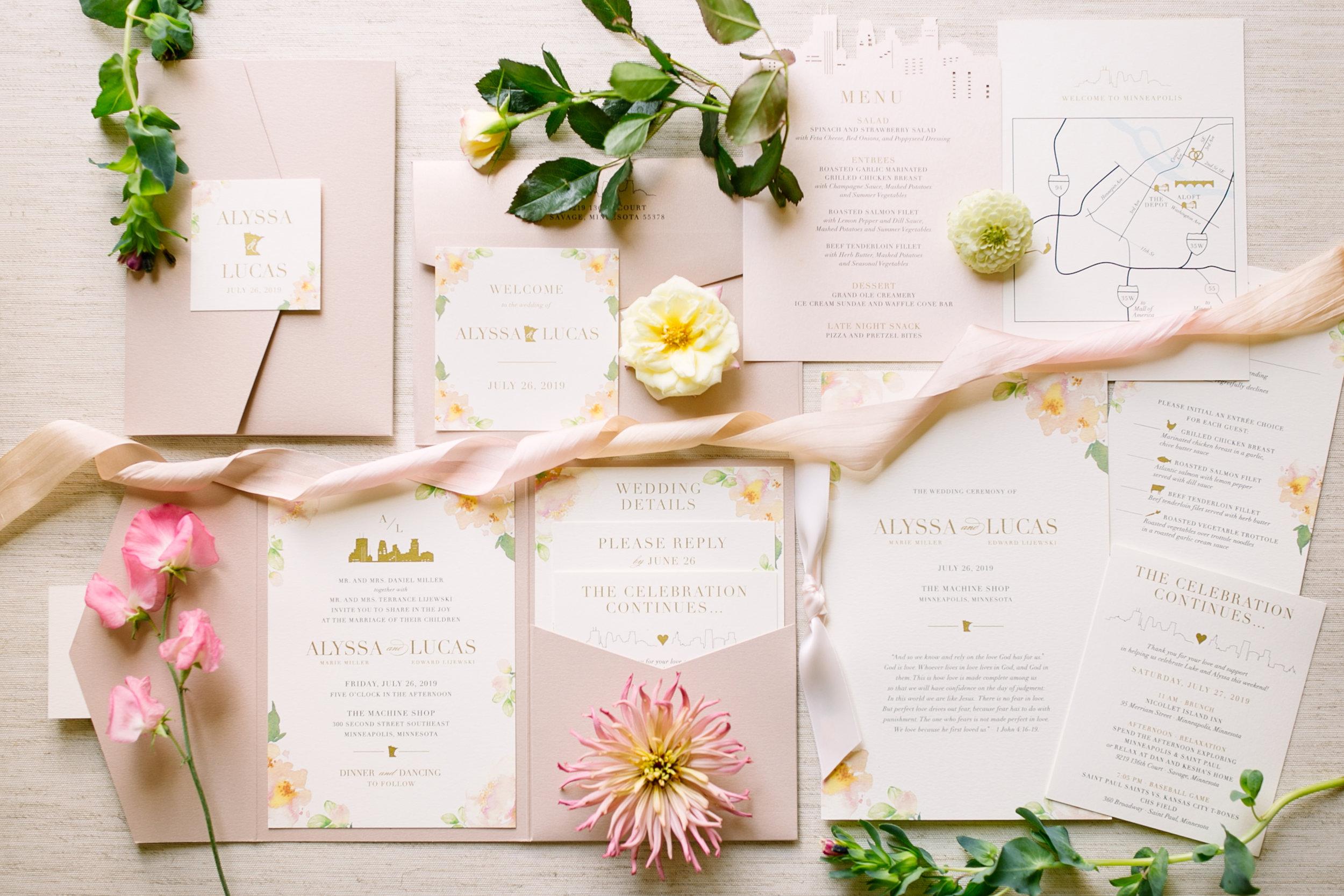 Blush Watercolor Pocketfold Invitation