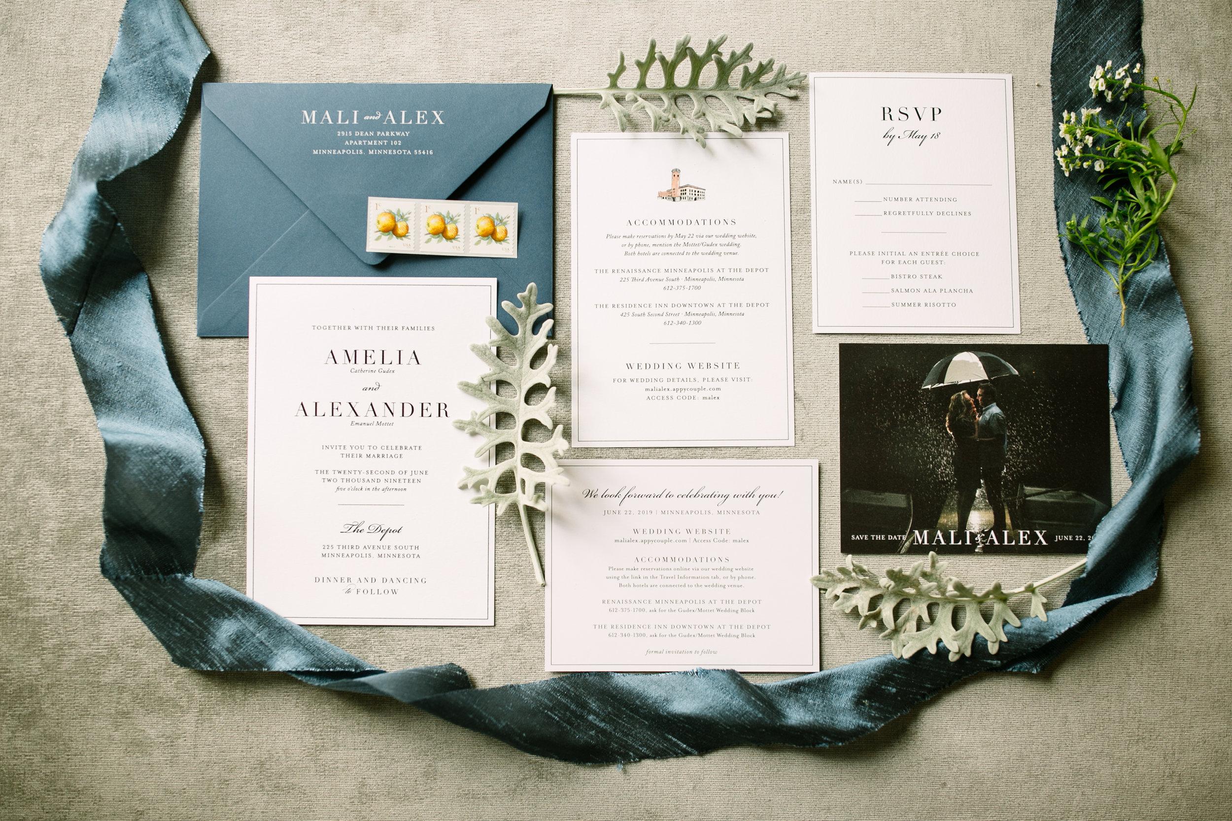Classic Blue Wedding Invitation