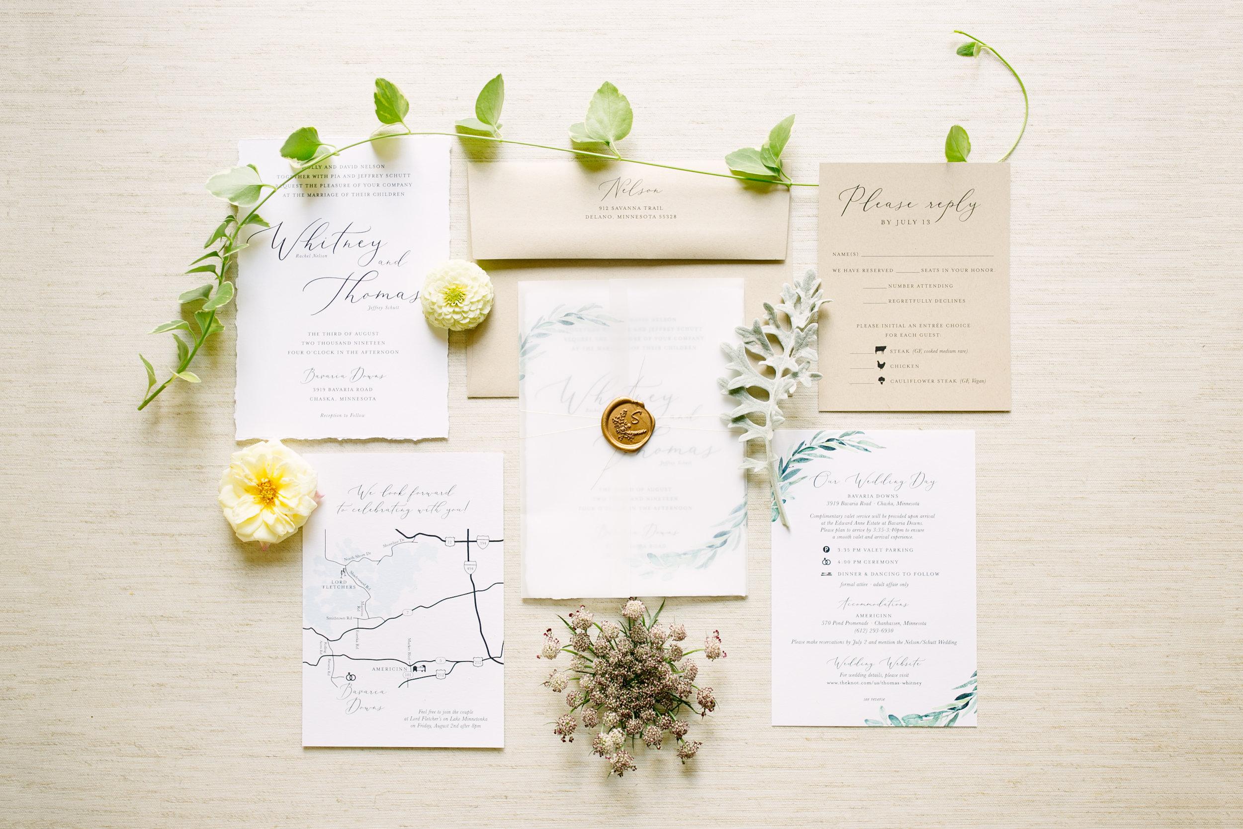 Vellum and Greenery Wedding Invitation
