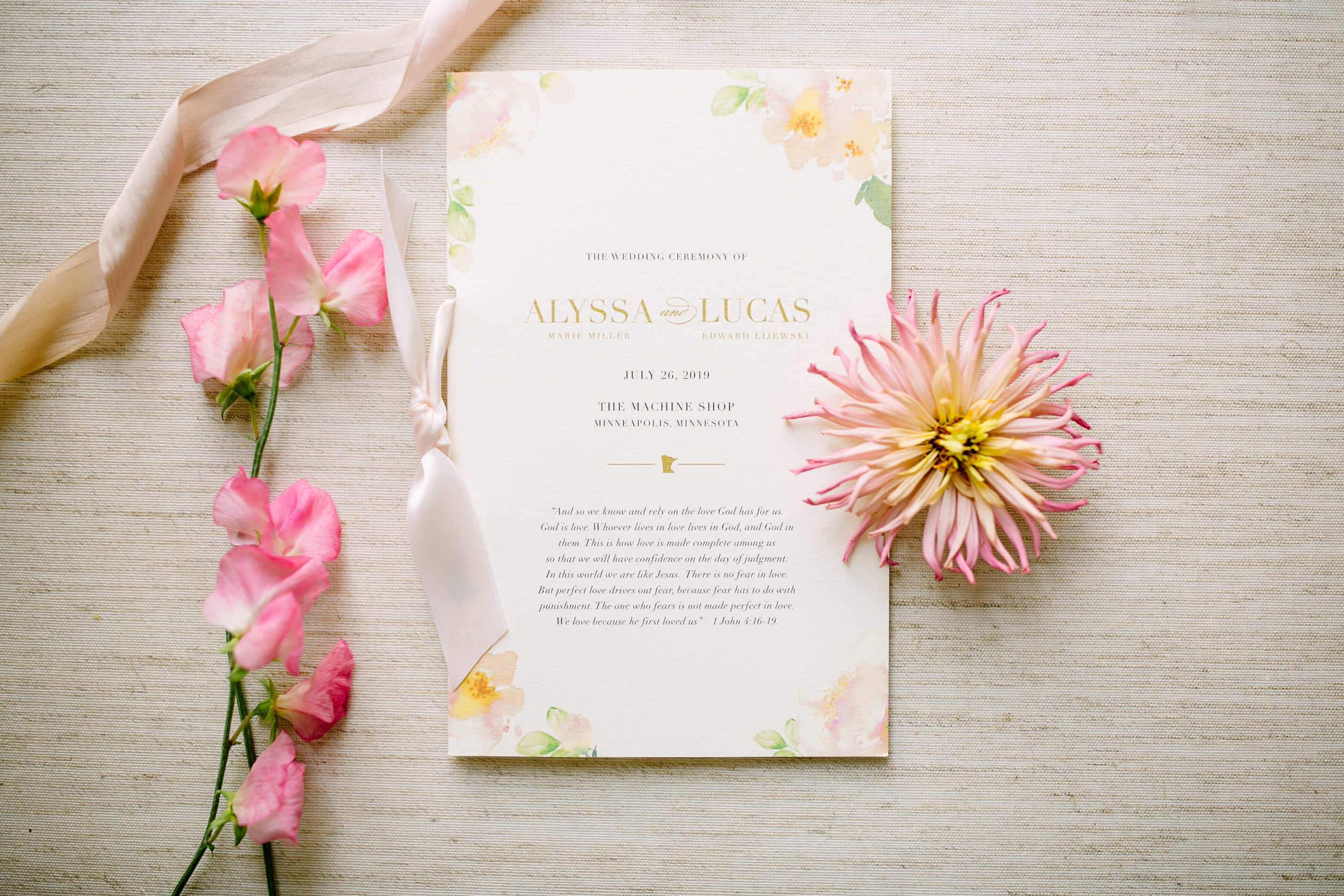 Blush Watercolor Wedding Program