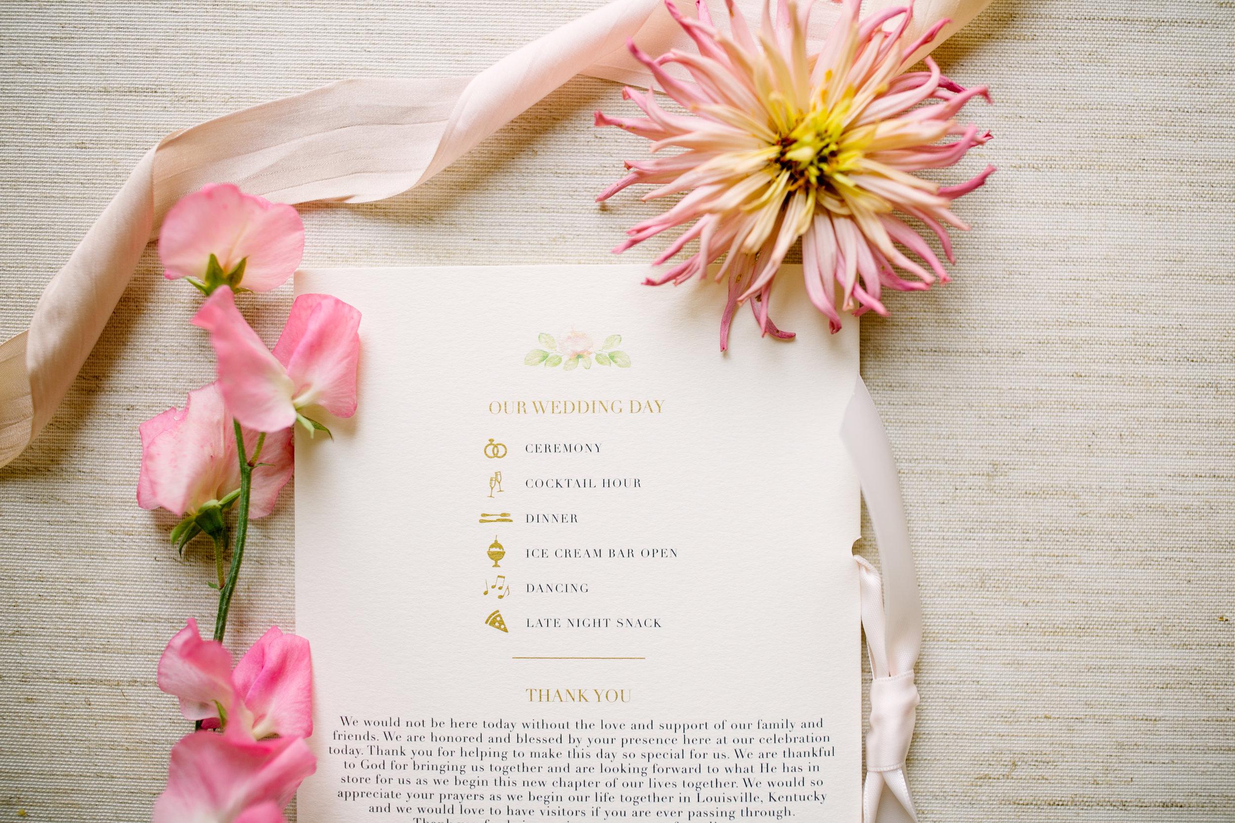 Wedding Timeline on Program