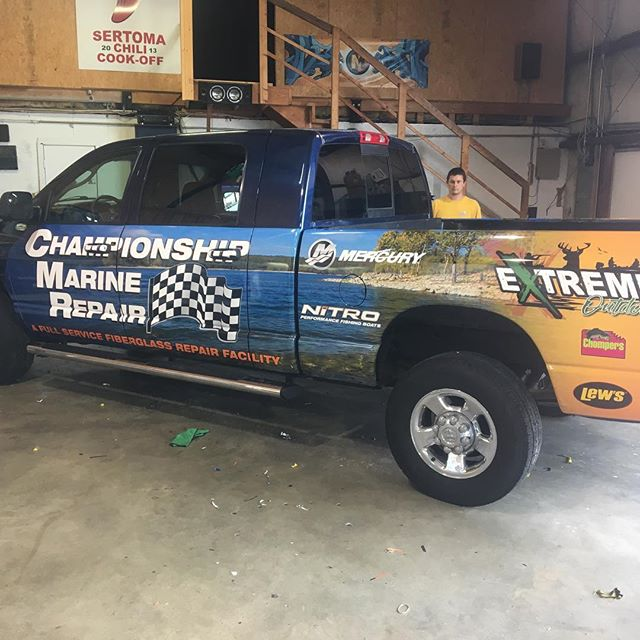 One of two rigs we are wrapping for championship marine.  #wrap #megacab