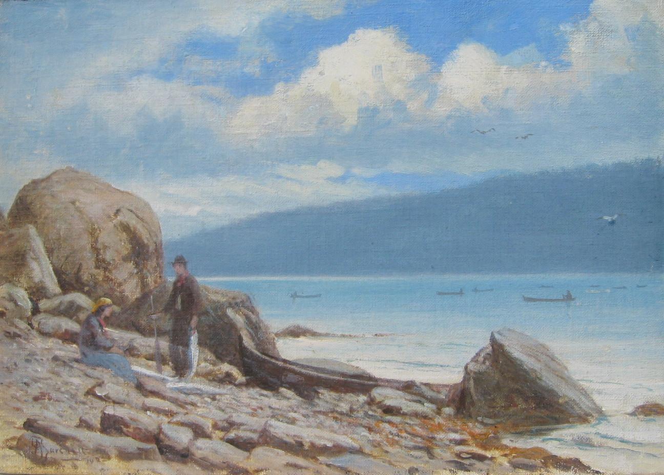 Arthur Burchett, Salmon Fishing, Cowichan Bay, 1923