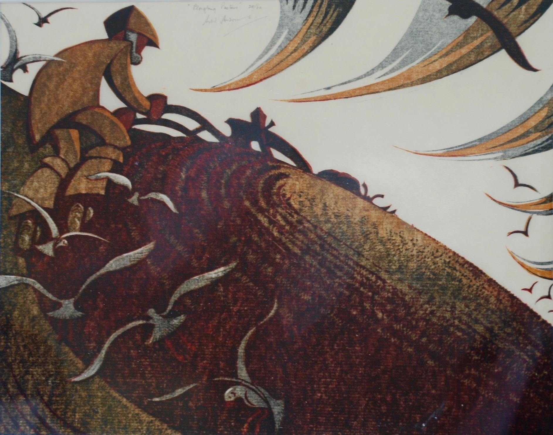 Sybil Andrews, Ploughing Pasture, 1954
