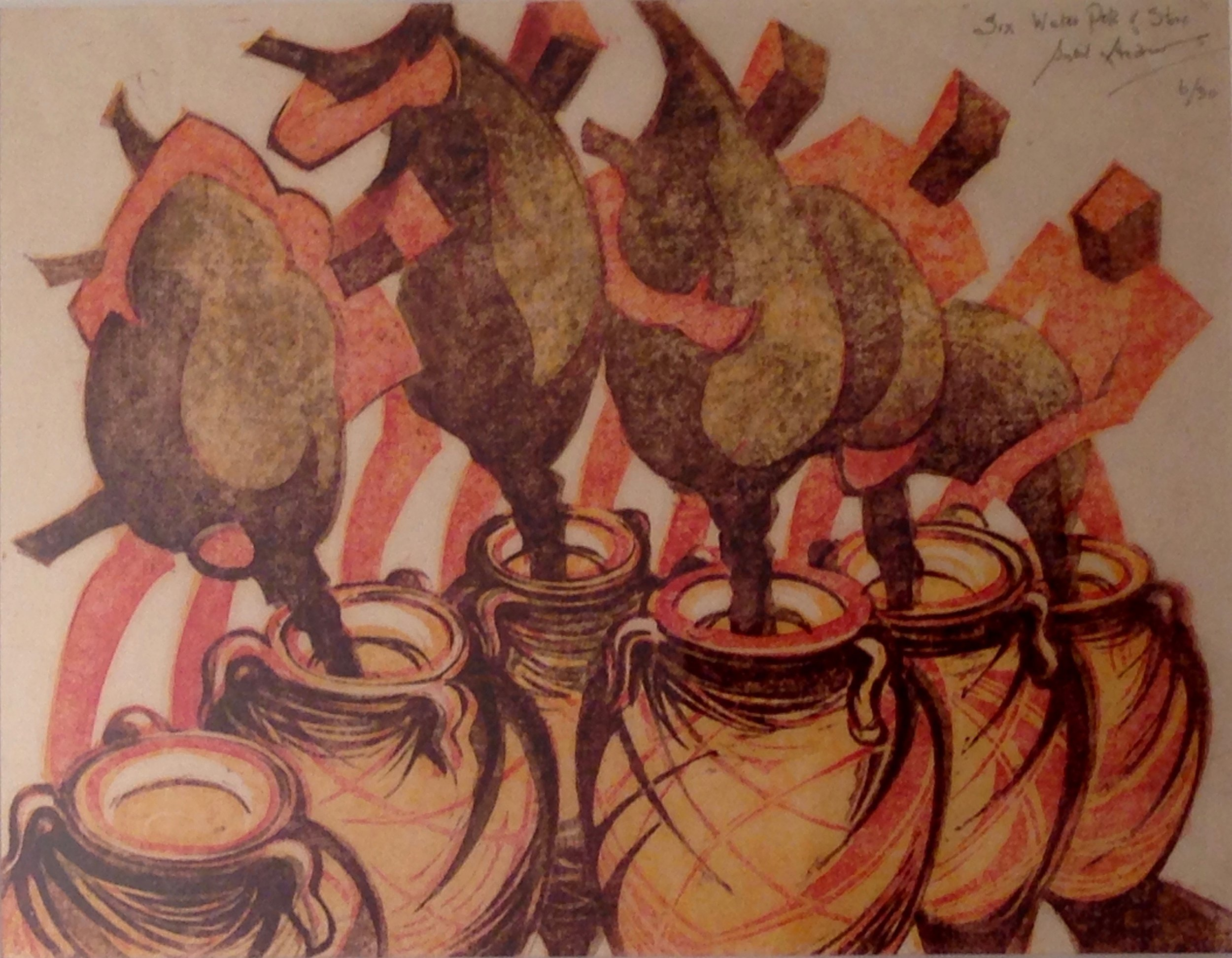 Sybil Andrews, Six Waterpots of Stone, 1988