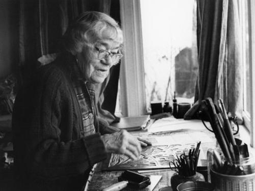 Sybil Andrews in her Willow Point Studio in 1983.