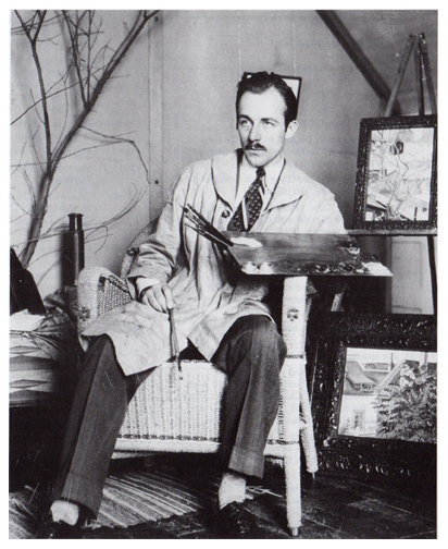 Caven Atkins in his studio, 1928. Photo courtesy of the Ingram Art News, September 2012.