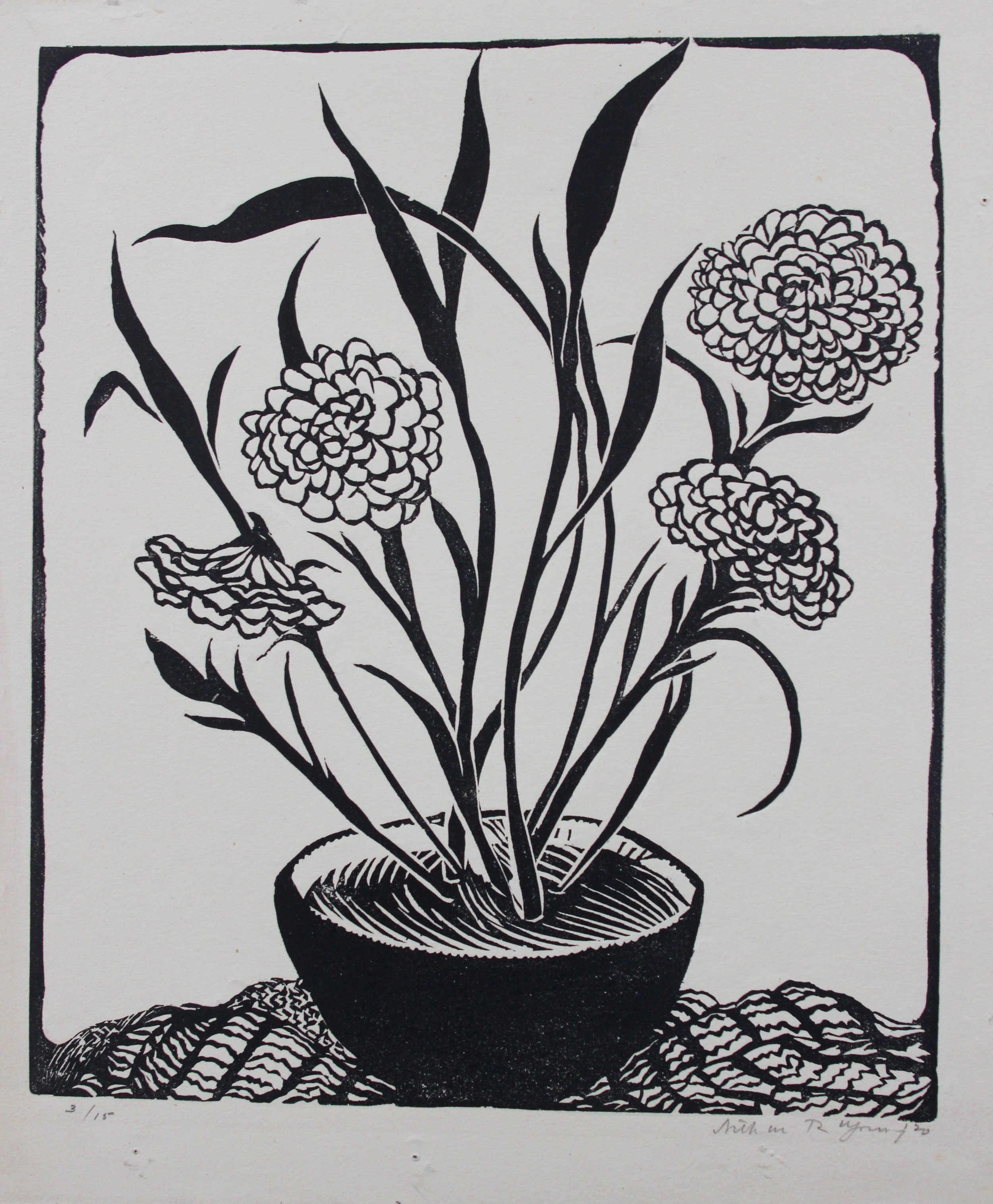 Arthur R. Young, Untitled, (flowers in a bowl), 1920
