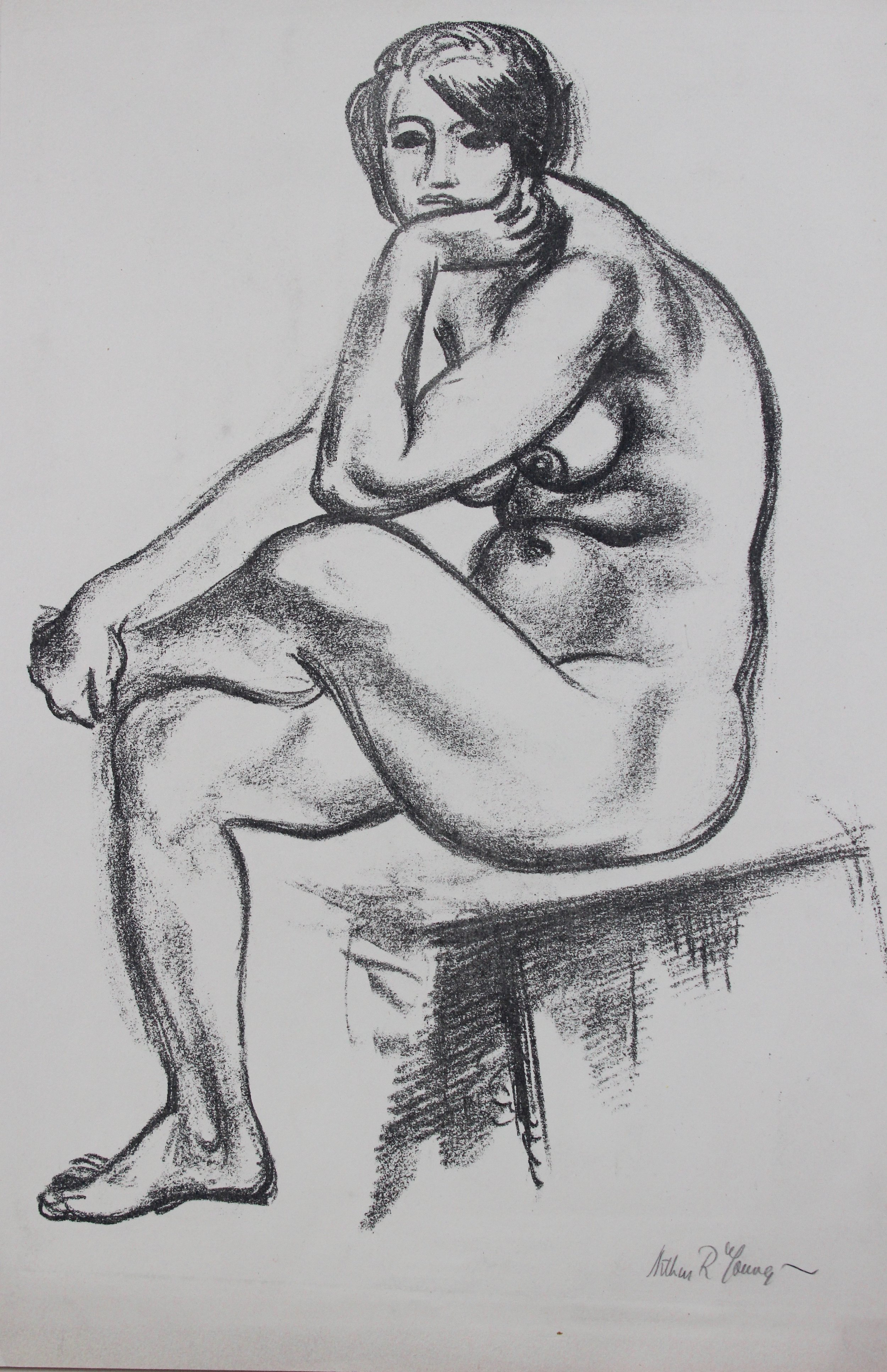 Arthur R. Young, Untitled (seated nude)