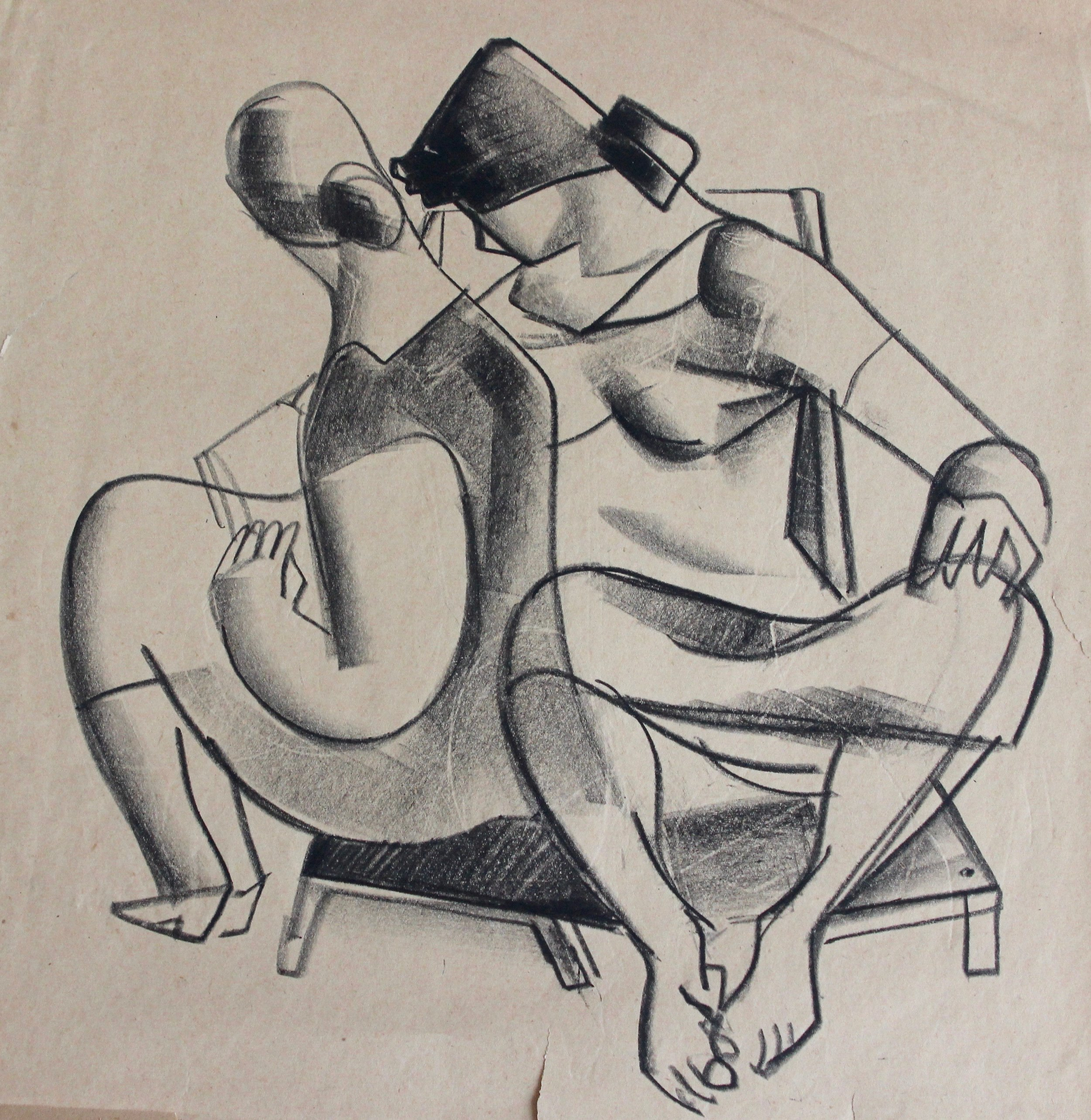 Arthur R. Young, Untitled (two woman sitting on a chair)