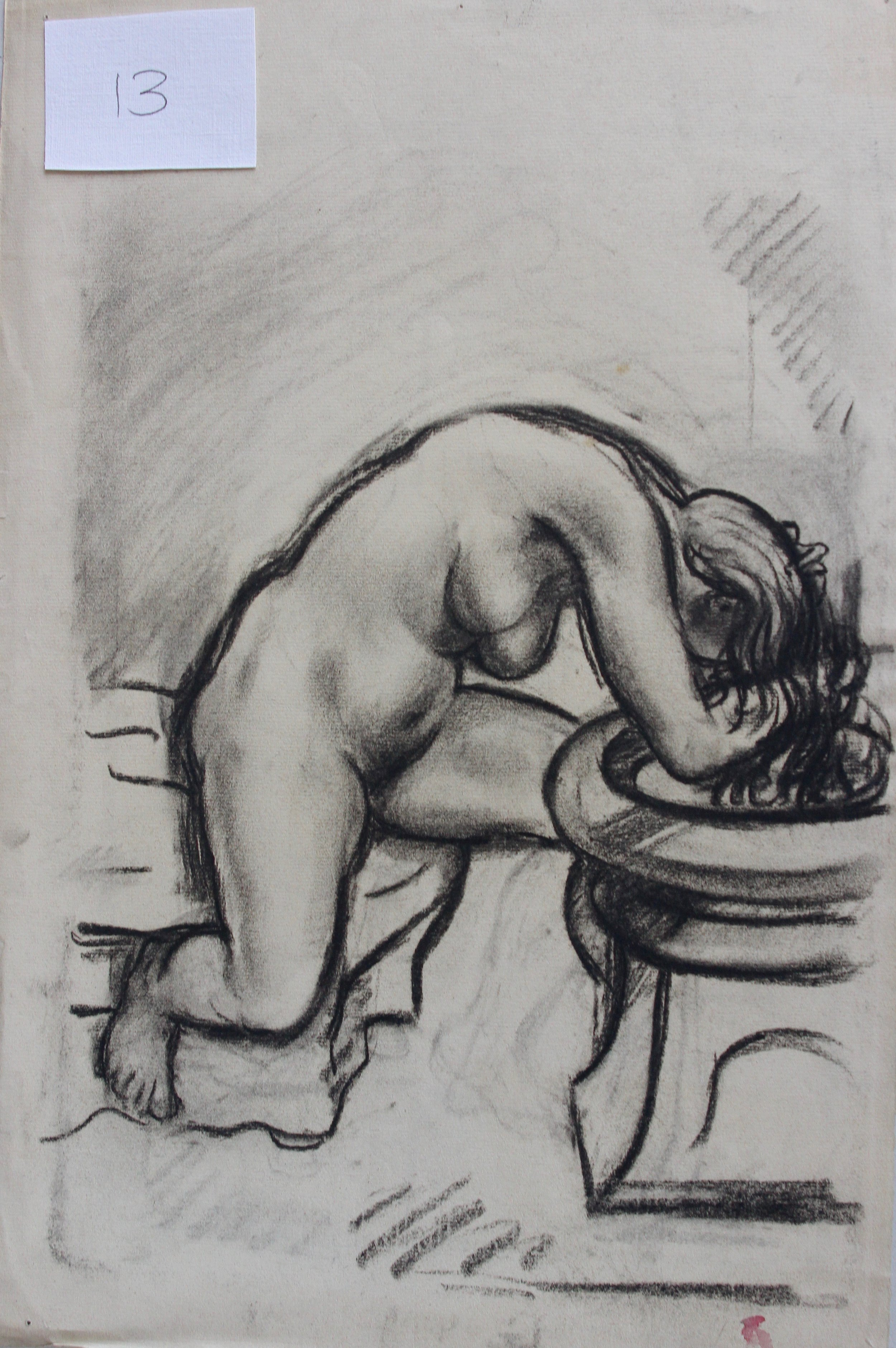 Arthur R. Young, Untitled (nude washing her hair #13)