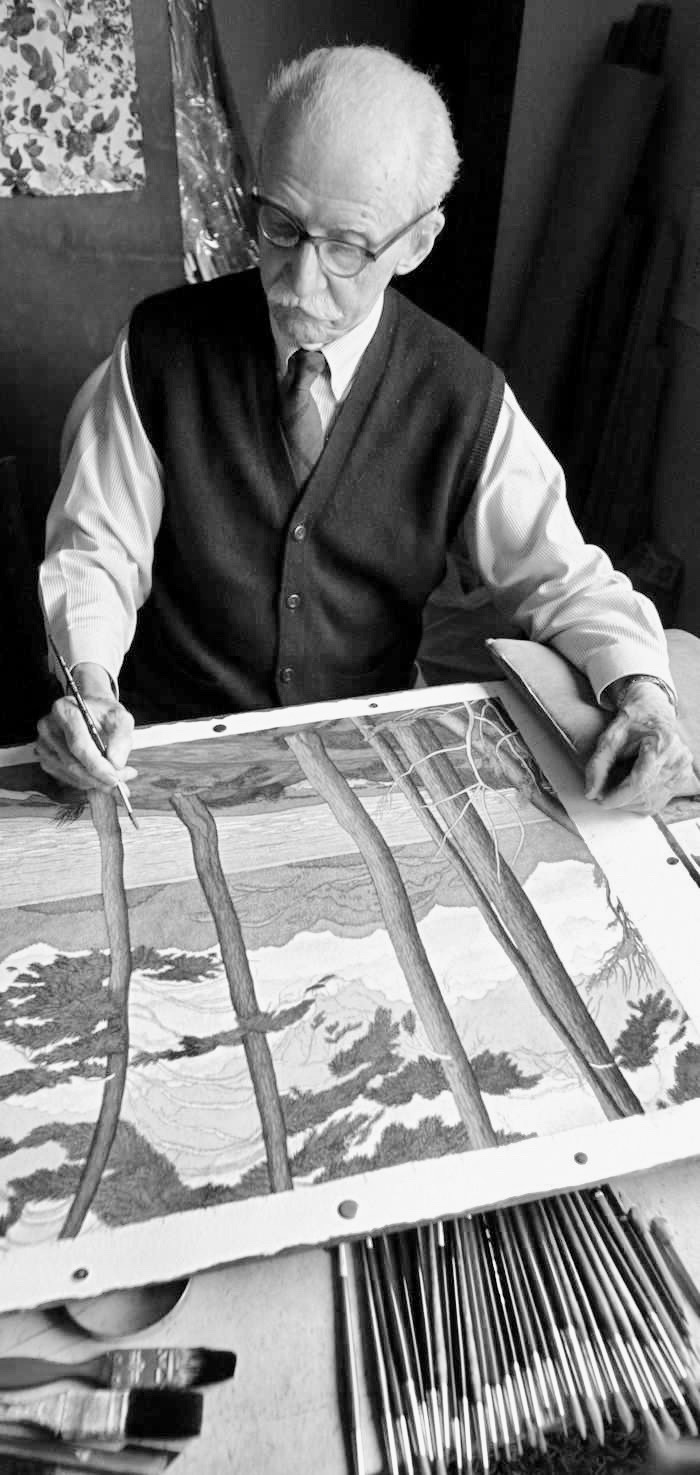 E.J. Hughes paints in his Duncan studio in 2004. Photo: Darren Stone / Times Colonist