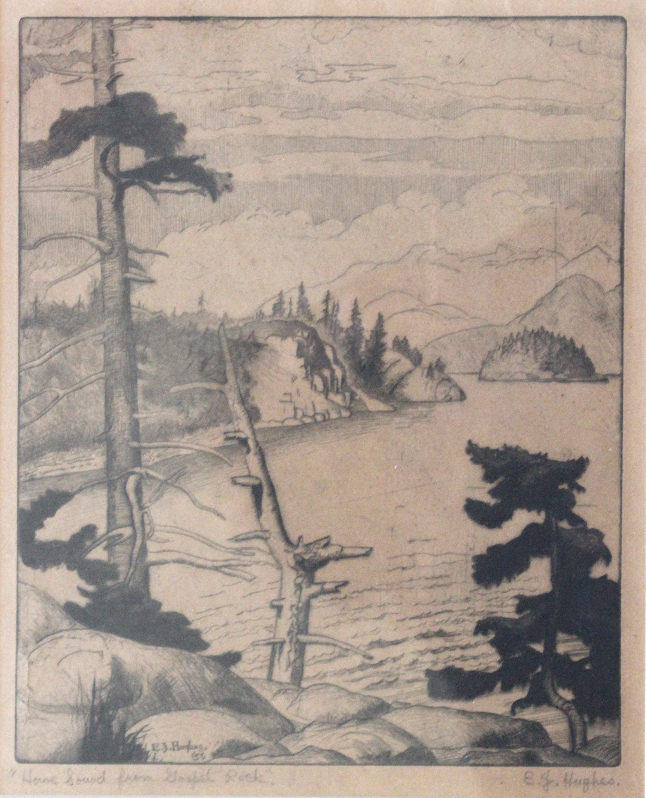 E.J Hughes, Howe Sound From Gospel Rock, 1935