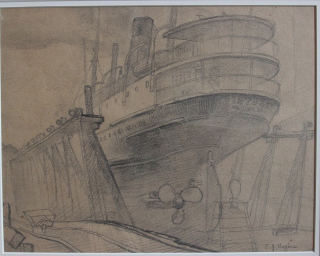 E.J Hughes, Vancouver Ferry in Dry Dock, 1938