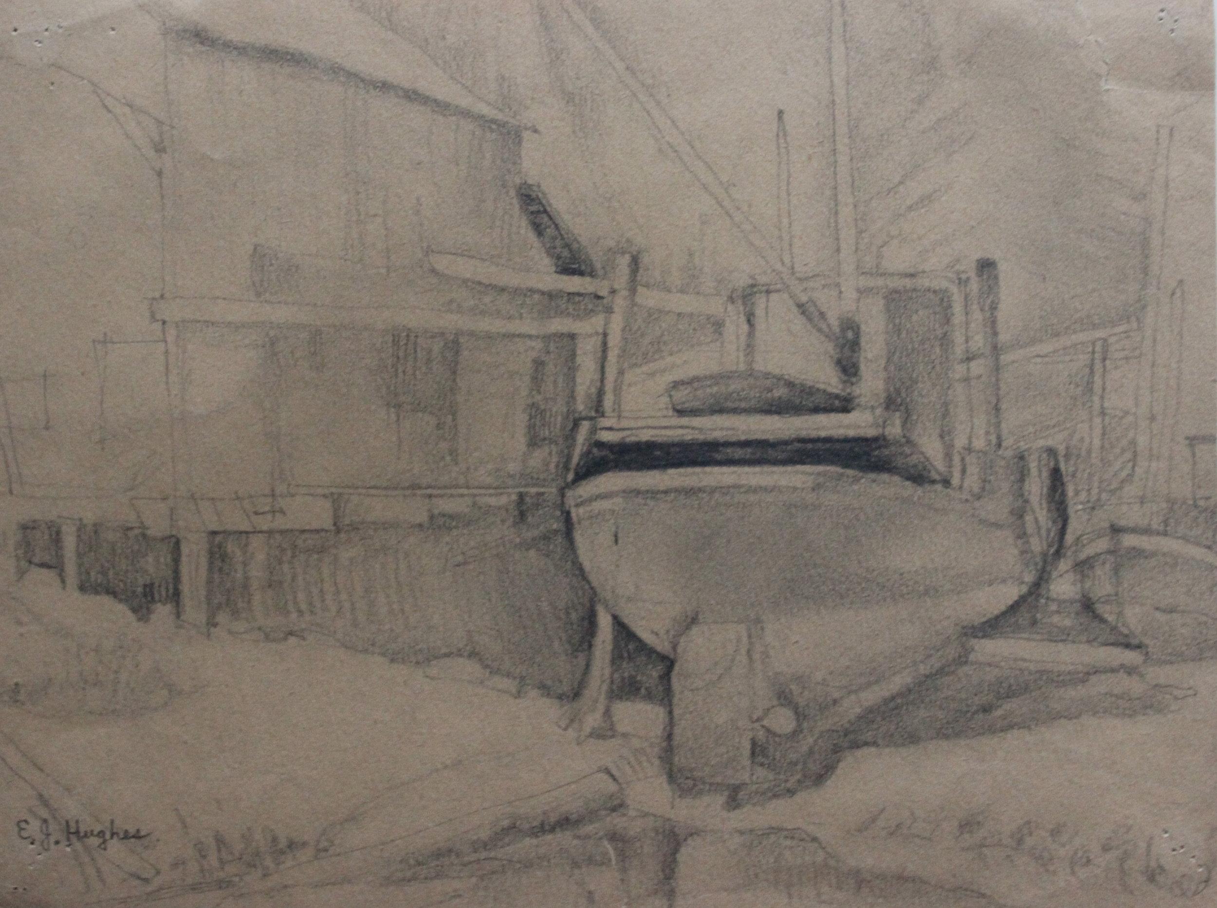 E.J Hughes, Sketch of Ship in Dry Dock