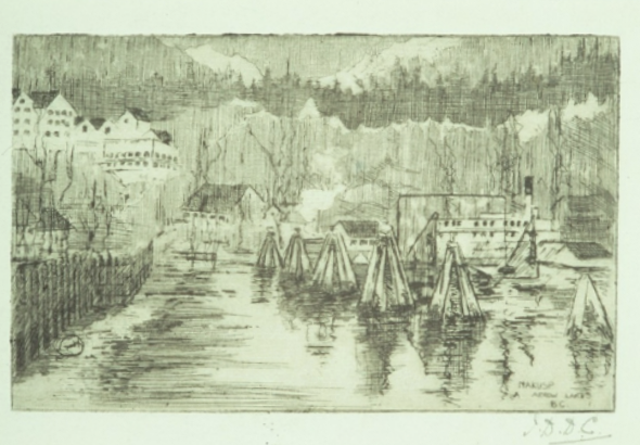 Ina Uhthoff, Nakusp, Arrow Lakes, ca. 1919 drypoint etching on paper,  From the Feckless Collection (formerly property of Muriel Uhthoff)