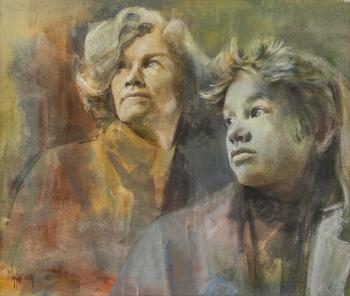 Nita Forrest and Farlie, oil on canvas by Myfanwy Pavelic