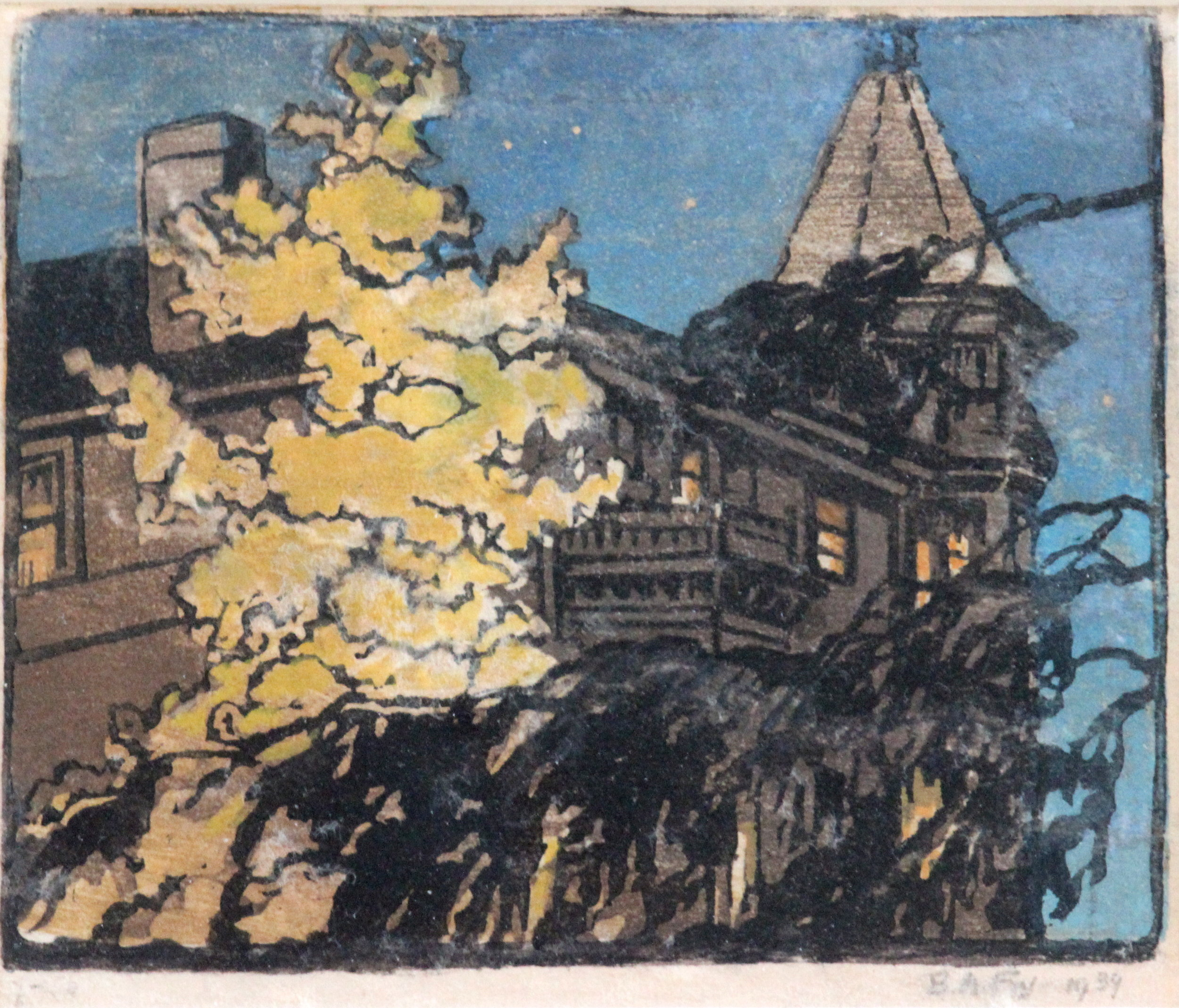Bessie Adelaide Fry, Tree & Old House with Turret, 1939