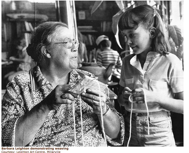 Barbara Leighton demonstrating weaving, Leighton Art Centre,Millarville