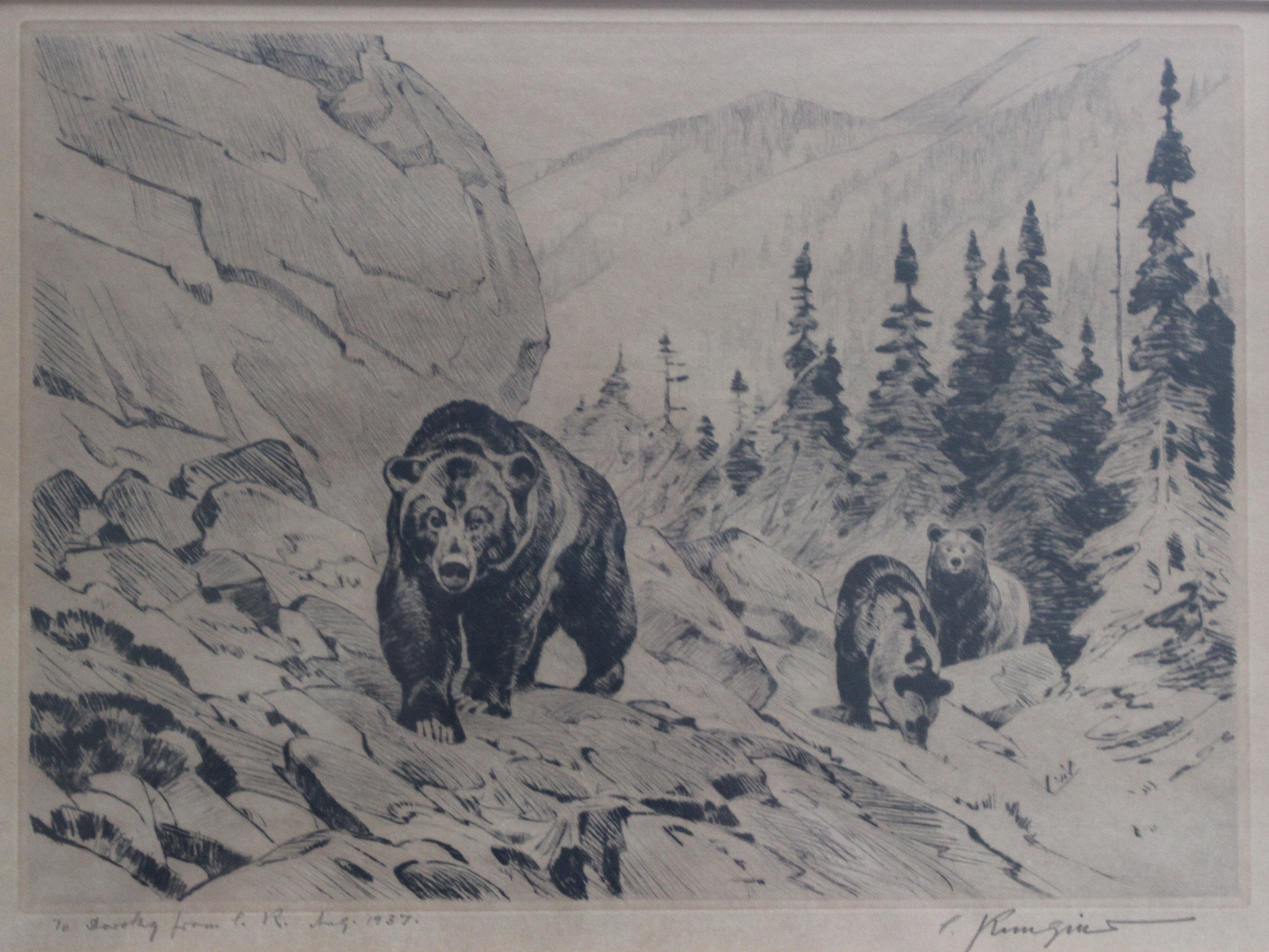 Carl Rungius, Mama Bear and Two Cubs, 1937
