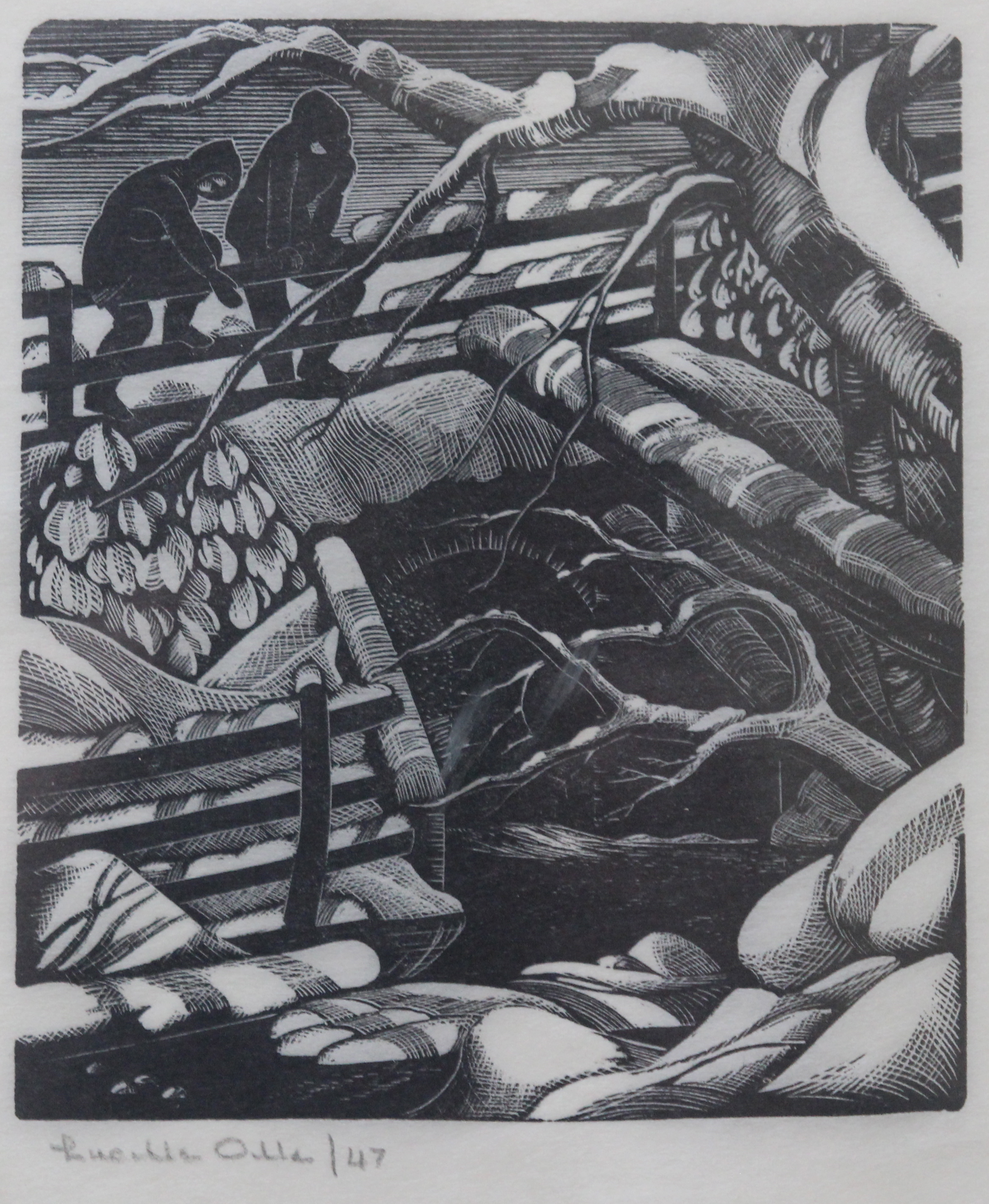 Lucille Oille, On the Bridge in Winter, 1947