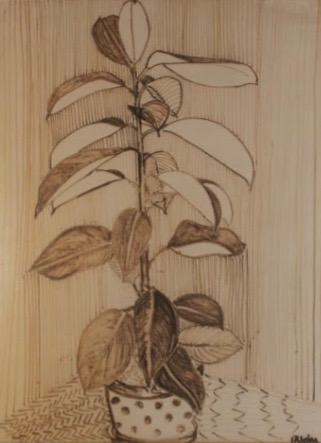 P.K. Irwin (Page), Untitled (Plant in Sepia Ink)