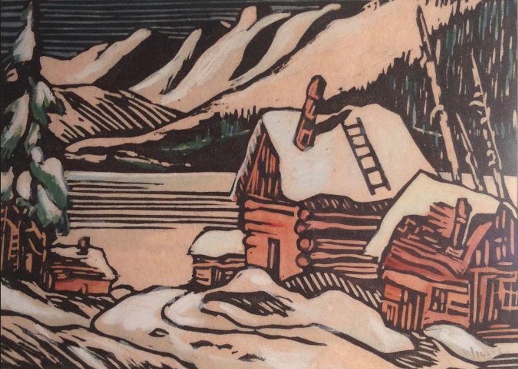 Dorothy Henzell-Willis, Mountain Lake with Cabins
