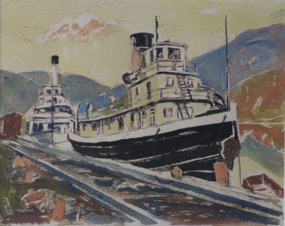 Alec Garner, S.S. Granthall and S.S. Moyie in Dock, Proctor Bay, BC, 1951