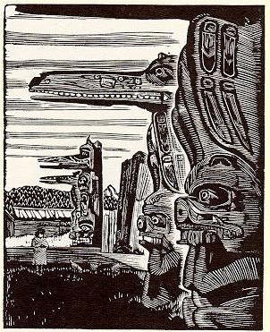 Walter J. Phillips,The Hoh-Hok Houseposts at Karlukwees, 1930