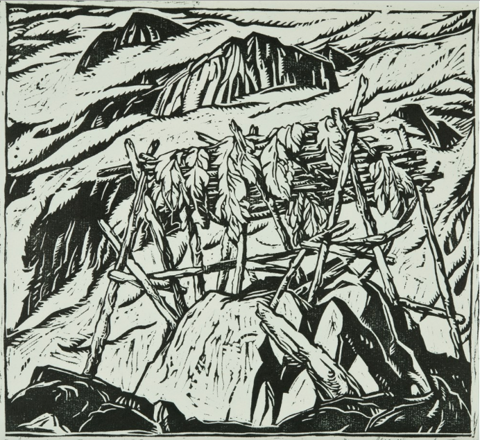 Jock Macdonald, Salmon Rack, Fraser Canyon, 1930