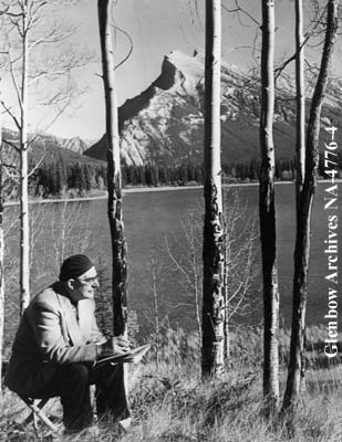 Phillips sketching in Banff Photo:The Glenbow Museum Archives